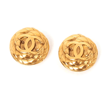 Chanel CC logo gold tone vintage earrings
