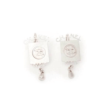 Chanel square silver vntage pierced earrings