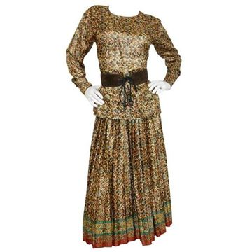Yves Saint Laurent 1970s Silk Lame Skirt and Top Brown Vintage Evening Two Piece Dress