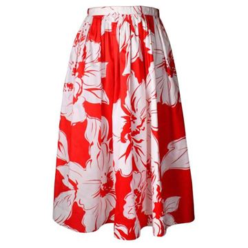 Celine 1970s Cotton Hibiscus Print Red Vintage Midi Skirt