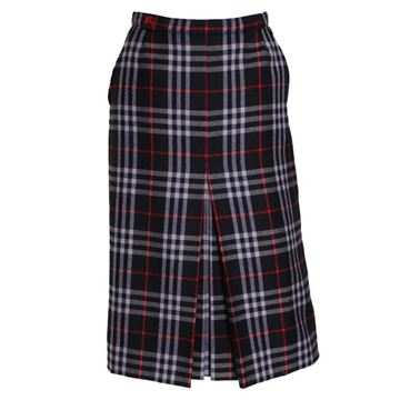 Burberry 1980s Tartan Wool Navy Blue Vintage Midi Skirt