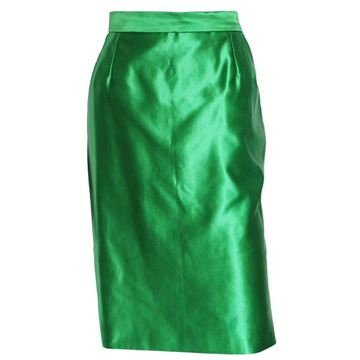 Yves Saint Laurent 1990s Variation Line Silk Green Vintage Skirt