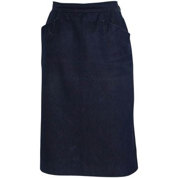 Yves Saint Laurent 1990s Rive Gauche Denim Blue Vintage Midi Skirt