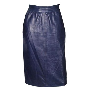 Yves Saint Laurent Rive Gauche 1980s Leather Blue Vintage Skirt