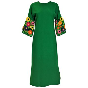 Vintage 1960s Knitted Flower Sleeves Green Vintage Maxi Dress