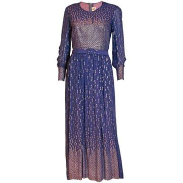 Hardy Amies 1960s Gold Dot Long Sleeve Blue Vintage Evening Gown