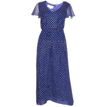 Gina Fratini 1970s Silver Polka Dot Silk Chiffon Blue Vintage Evening Dress