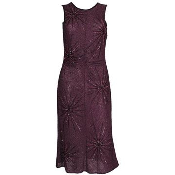 Tomsaz Starzewski  1980s Star Beaded Deep Purple vintage Cocktail Dress