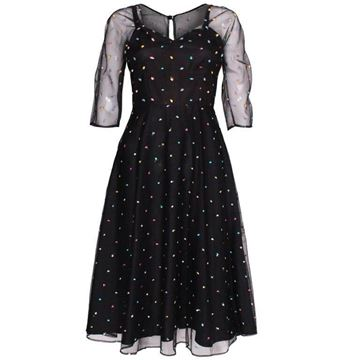 Radley 1970s Net Overlay Multicolour Dot Black Vintage Midi Dress