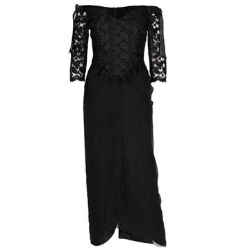 Zandra Rhodes 1980s Lace Bodice Black Vintage Evening Dress