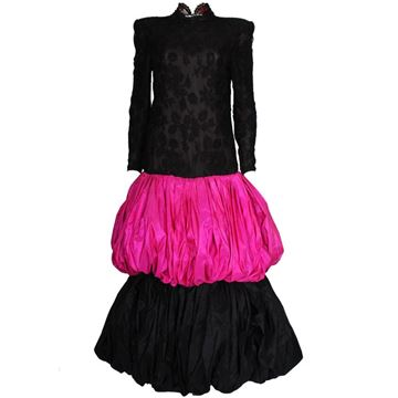 Valentino 1980s Double Pink Puff Ball Black Vintage Evening Dress