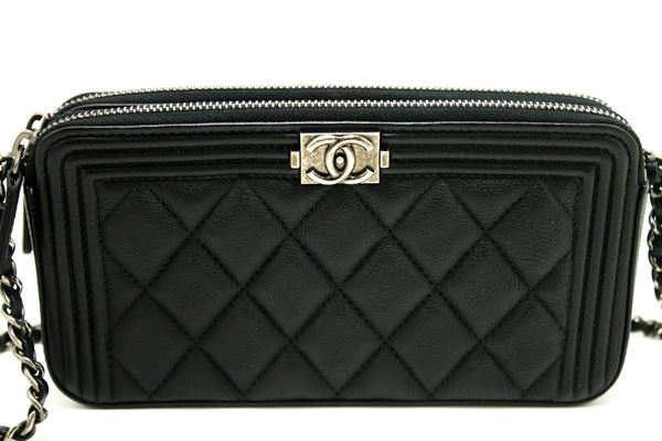 Chanel Boy Caviar WOC Wallet On Chain W Zip Chain Shoulder Bag 227d06a1f